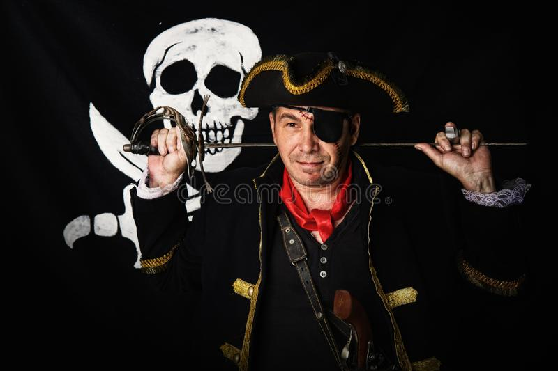 Brave pirate captain royalty free stock photos