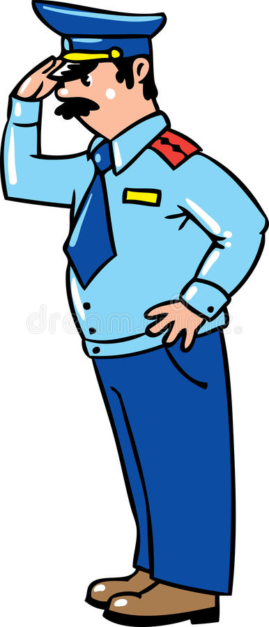 Brave policeman in uniform and cap salutes stock illustration