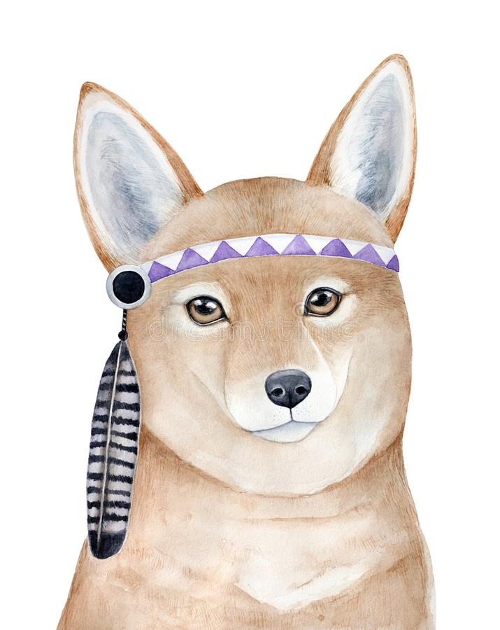 Brave red dingo dog character portrait with beautiful eyes and violet headgear decorated with striped eagle feather. vector illustration