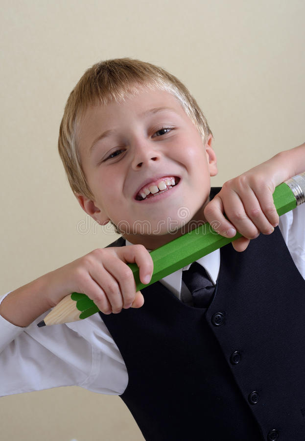 Download Brave Schoolboy With Pencil Stock Photo - Image: 27019158