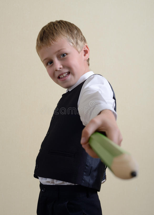 Download Brave Schoolboy With Pencil Stock Image - Image: 27019197