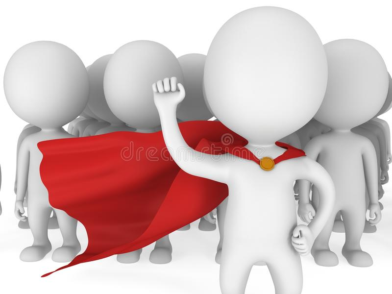 Brave superhero with red cloak before a crowd vector illustration