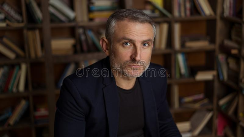 Brave 45 years old men with gray hair and beard stock photography