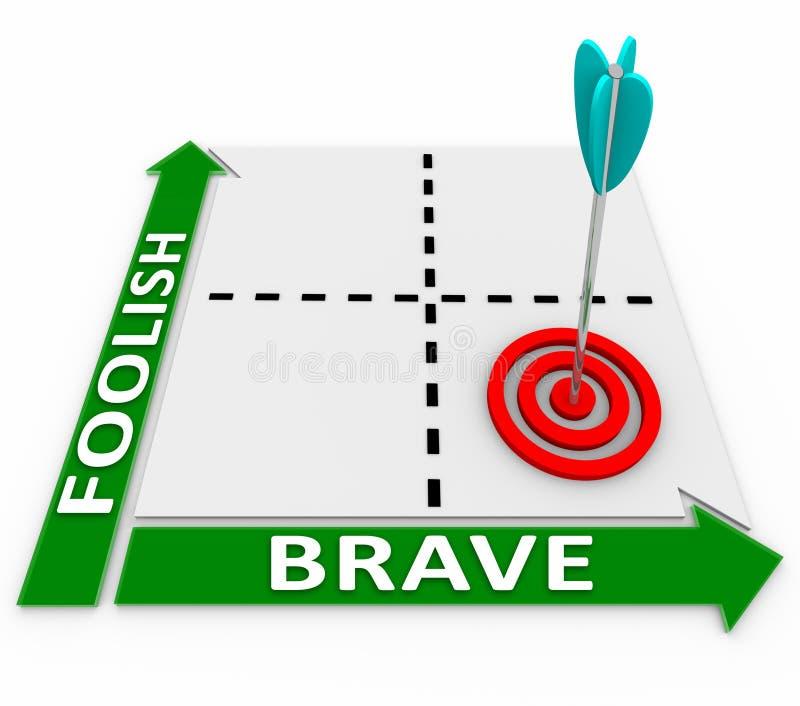 Bravez contre des mots insensés choix courageux ou risqué de Matrix illustration libre de droits