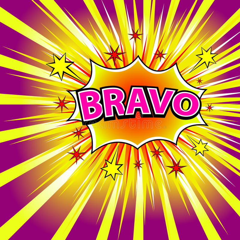 BRAVO! Grappige boekexplosie vector illustratie