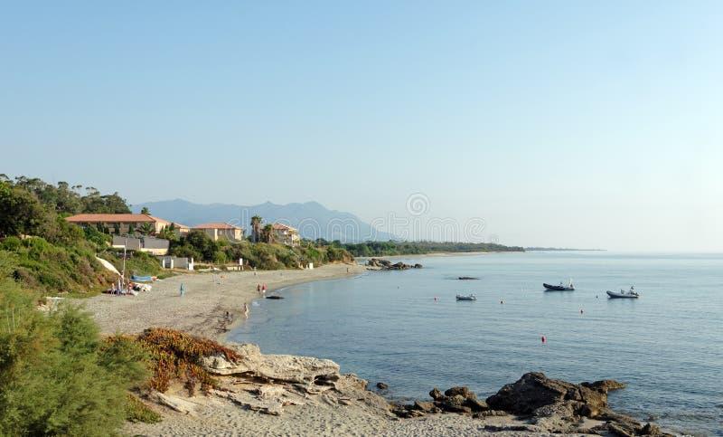 Bravone beach in Corsica. Beach in eastern coast of corsica stock photography