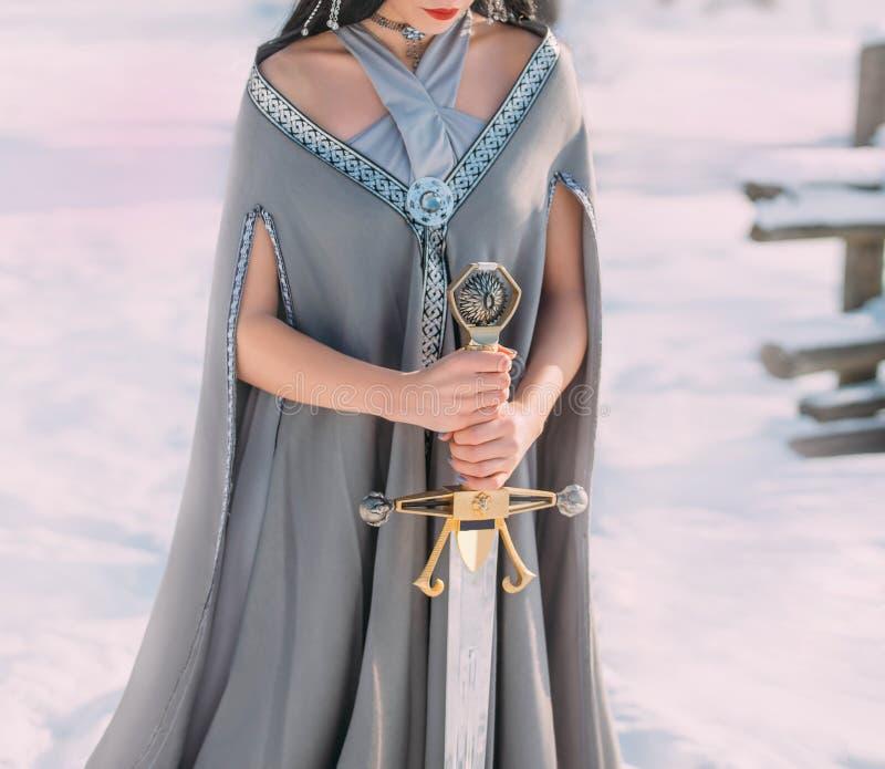 Bravura e poder de duendes escuros em florestas frias do inverno Mulher nova 15 imagens de stock