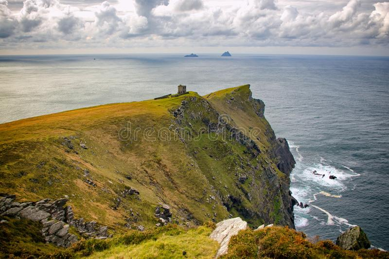 Bray head. On Valentia island, with view of the two Skellig islands. Co Kerry, Ireland royalty free stock photos