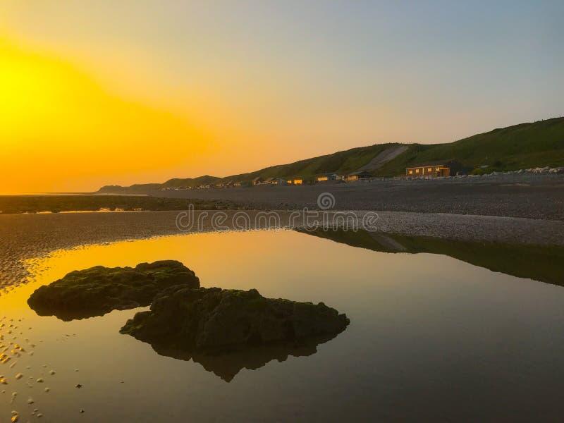Braystones海滩日落 免版税图库摄影