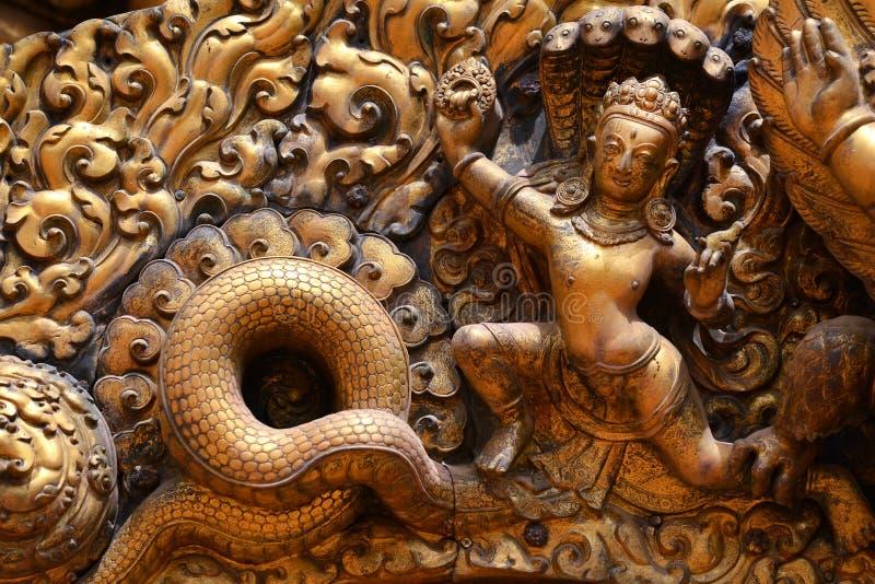 Brazen relief, sculpture of Shiva royalty free stock images