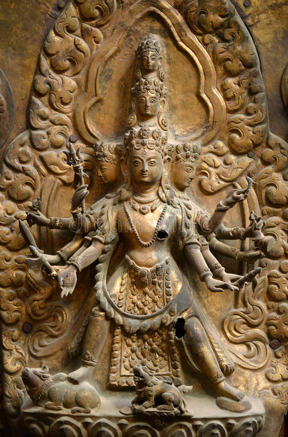 Brazen relief, sculpture of Shiva the destroyer in Nepal royalty free stock photography