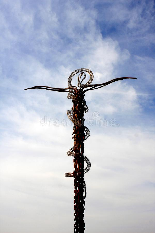 The Brazen Serpent, Mount Nebo. The Brazen Serpent on the top of Mount Nebo, Jordan stock images