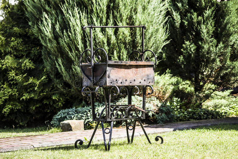 Brazier. Forged brazier picnic in nature royalty free stock photos