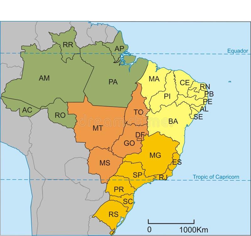 brazil översikt royaltyfri illustrationer