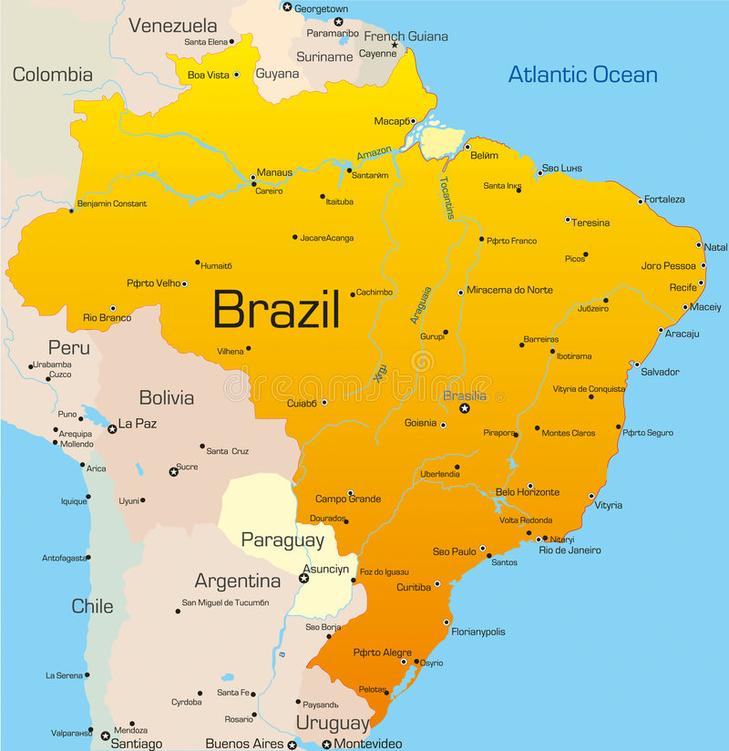 Brazil. Abstract vector color map of Brazil country