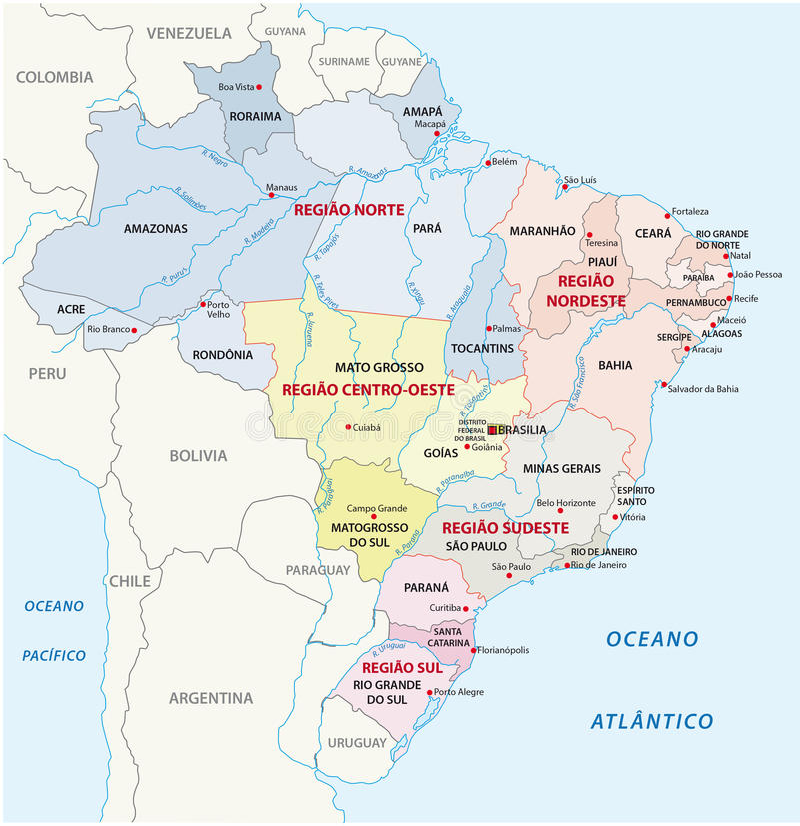 Brazil administrative map stock illustration Illustration of