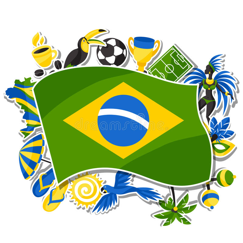 Brazil background with sticker objects and royalty free illustration