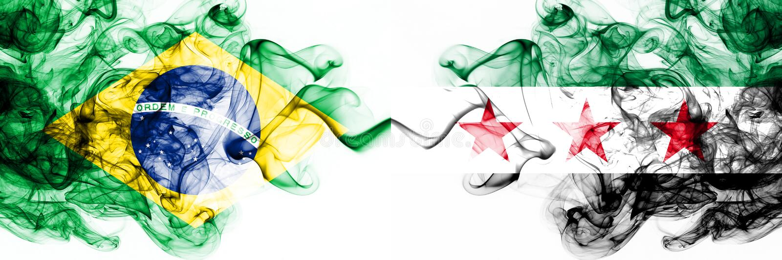 Brazil, Brazilian vs Syria, Syrian Arab Republic, opposition smoky mystic flags placed side by side. Thick colored silky abstract. Smoke flags combination stock illustration