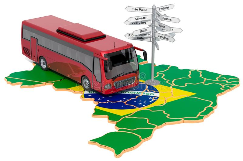 Brazil Bus Tours concept. 3D rendering. Isolated on white background stock illustration