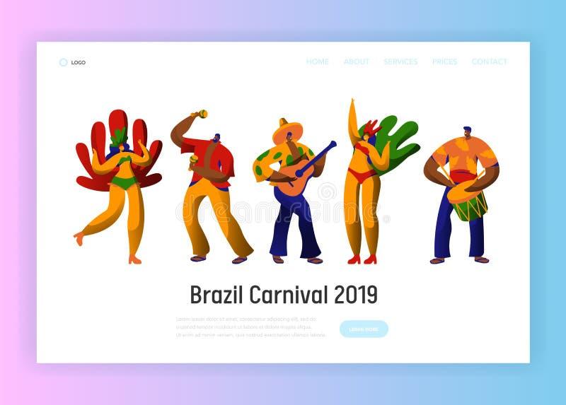 Brazil Carnival Parade Character Set Landing Page Template. Man Woman Dancer at Brazilian Masquerade Festival Exotic vector illustration