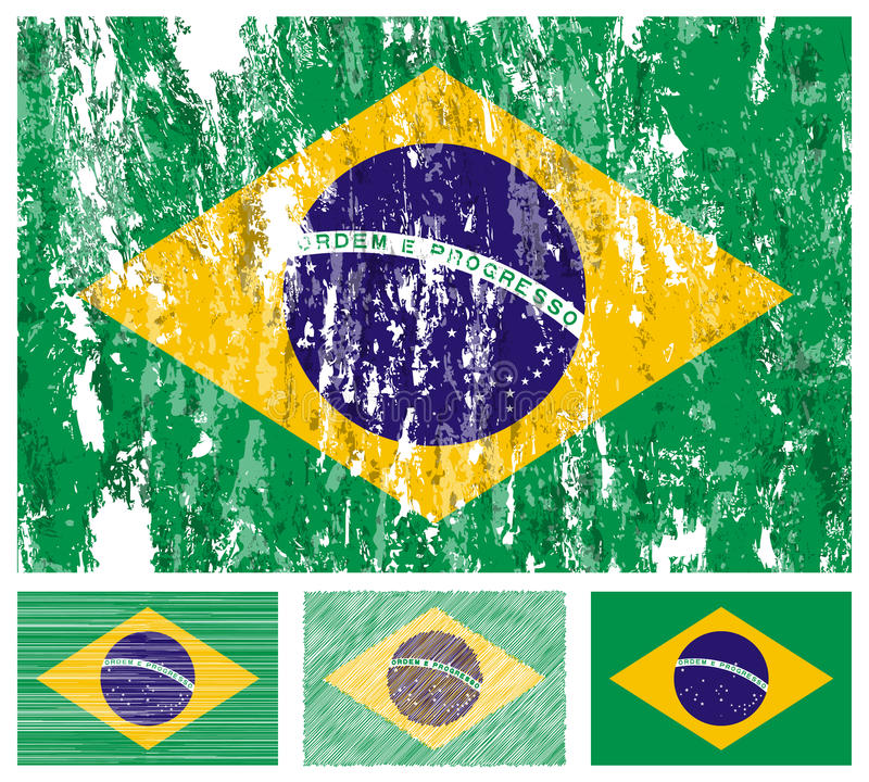 brazil chorągwiany grunge set ilustracji
