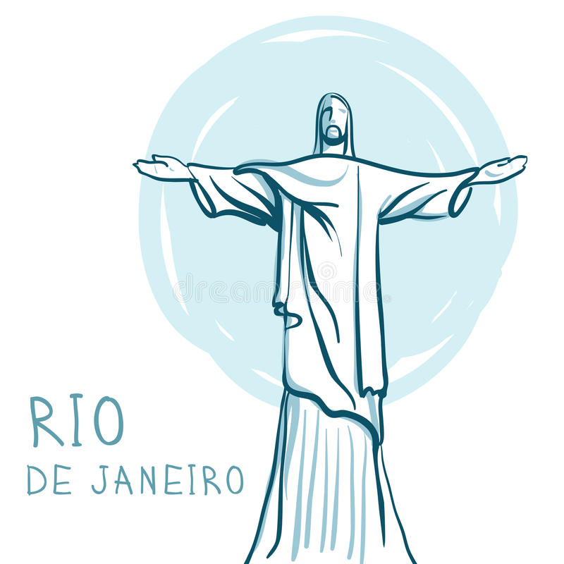 brazil christ de janeiro redeemer rio stock illustrationer