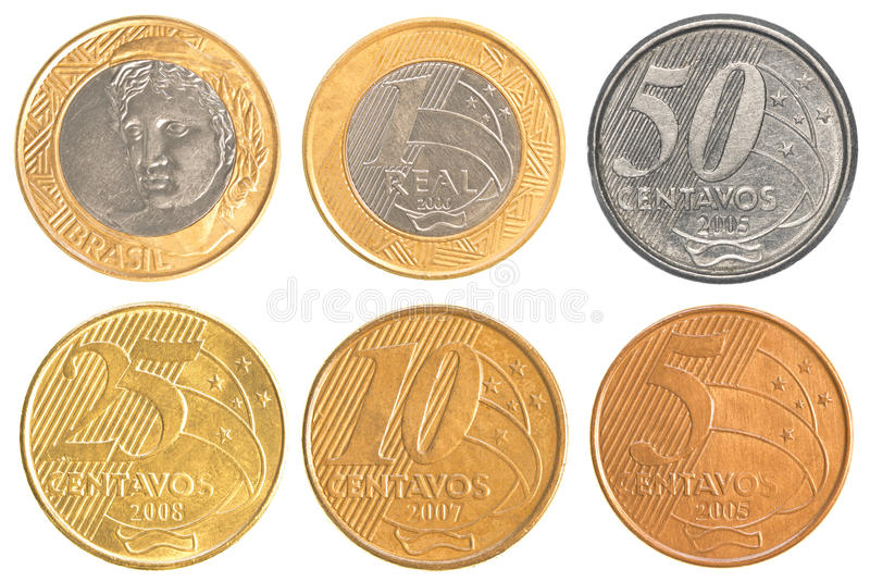 Brazil circulating coins collection set. Isolated on white background royalty free stock image