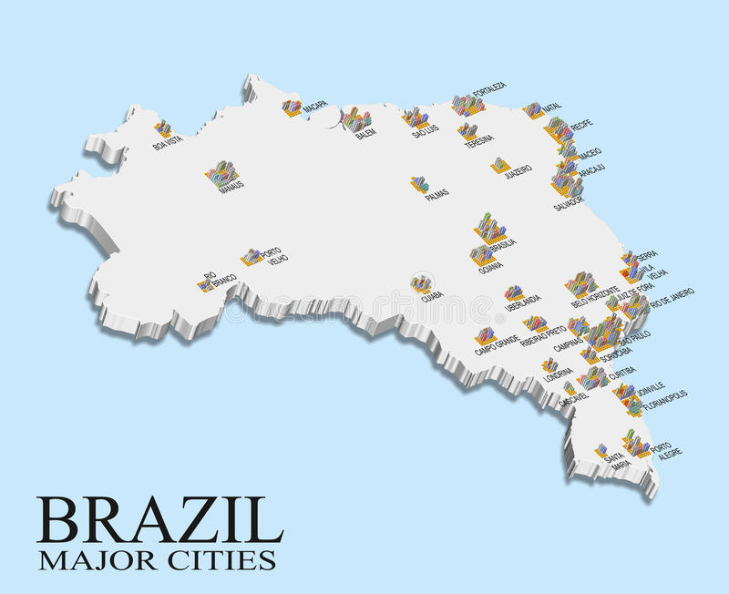 Brazil city population map stock illustration Illustration of bars