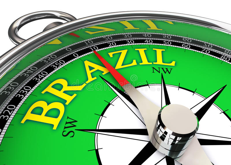 Brazil compass in green and yellow royalty free illustration