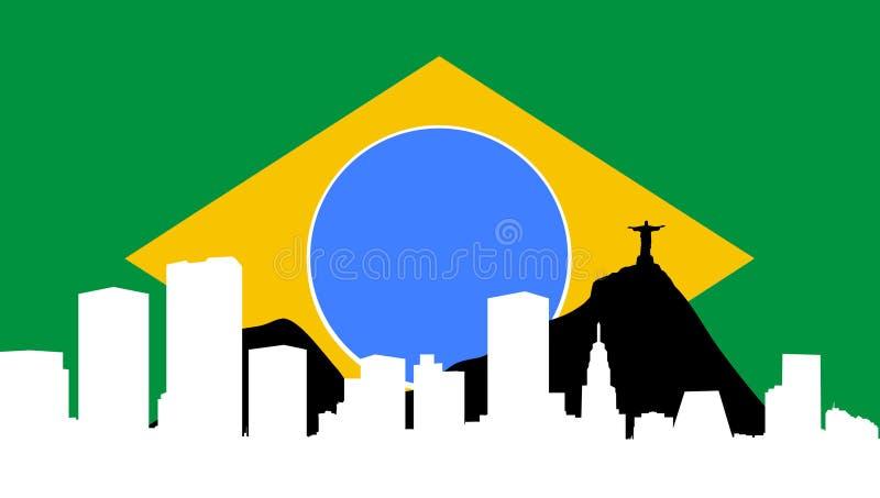 brazil de chorągwiana janeiro Rio linia horyzontu ilustracji