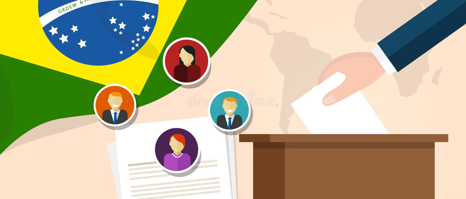 Brazil democracy political process selecting president or parliament member with election and referendum freedom to vote. Vector vector illustration