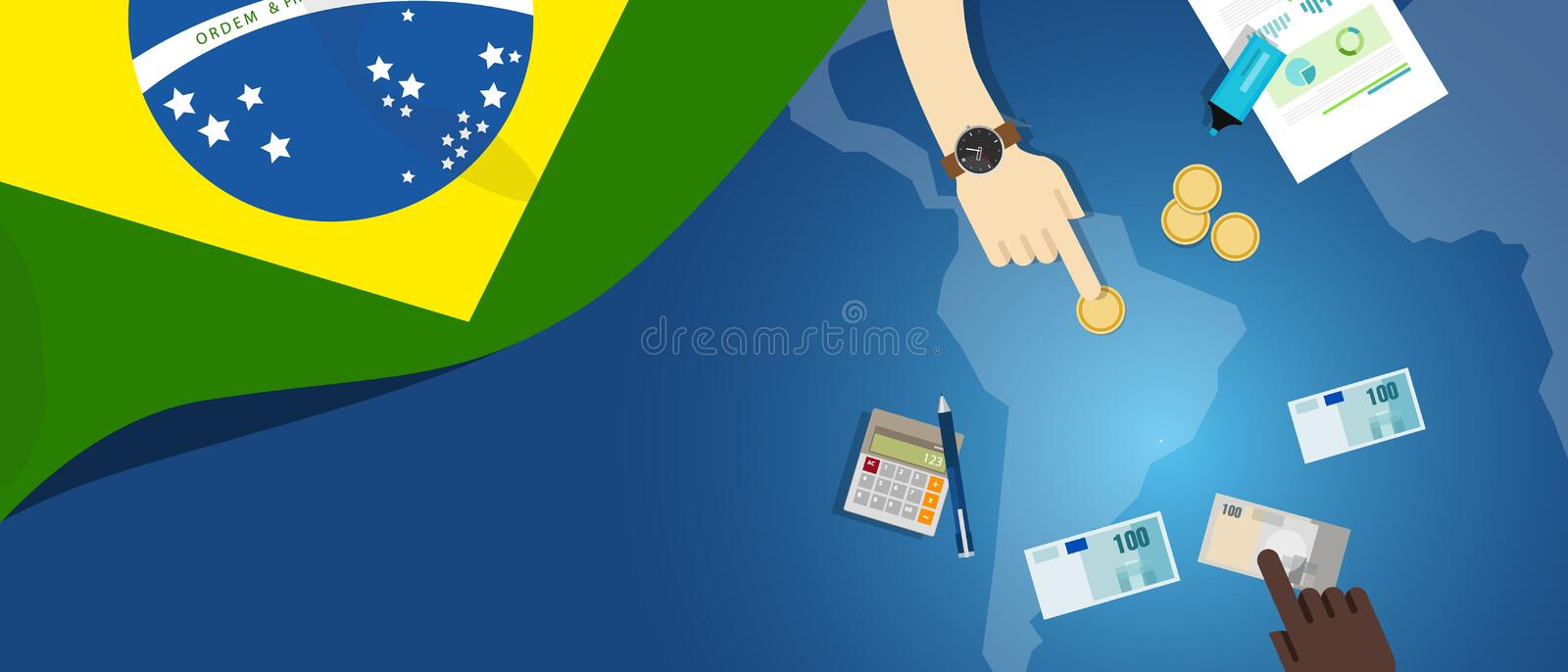 Brazil fiscal money trade concept illustration of financial banking budget with flag map and currency. Brazil economy fiscal money trade concept illustration of vector illustration