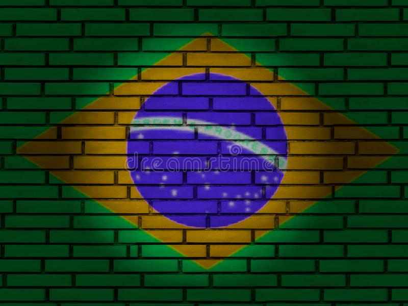 Brazil flag brick wall royalty free stock photography