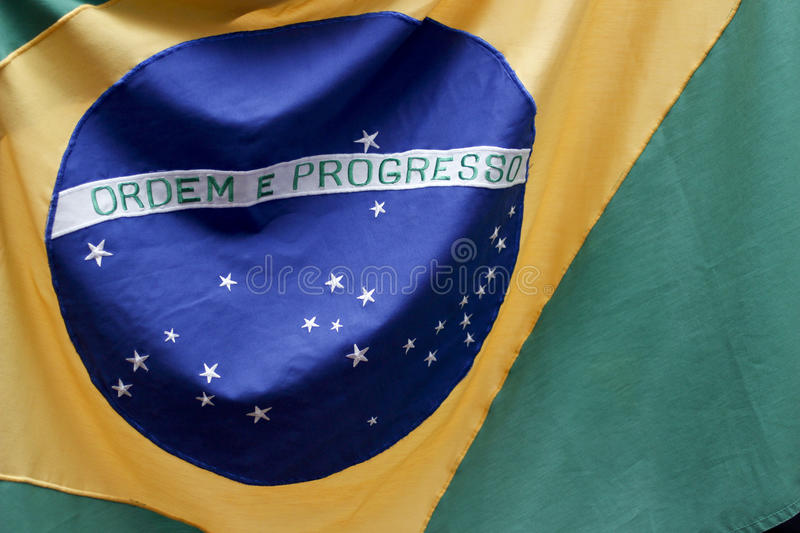 Brazil flag in detail and movement.  stock photos