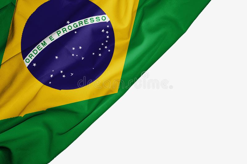 Brazil flag of fabric with copyspace for your text on white background. Banner best blue brasil brazilian capital colorful competition country ensign free vector illustration