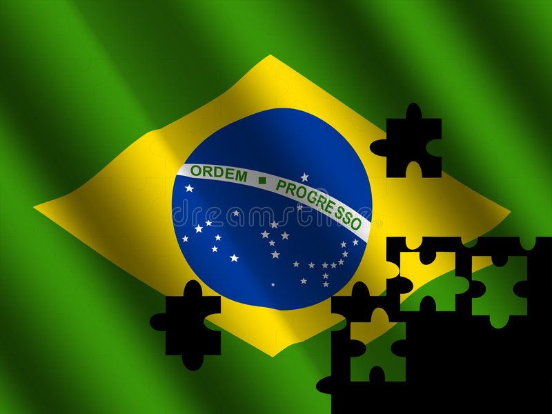 Brazil flag with jigsaw effect royalty free illustration
