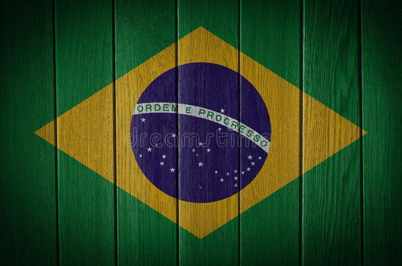 Brazil flag. Painted on old wood background stock photos