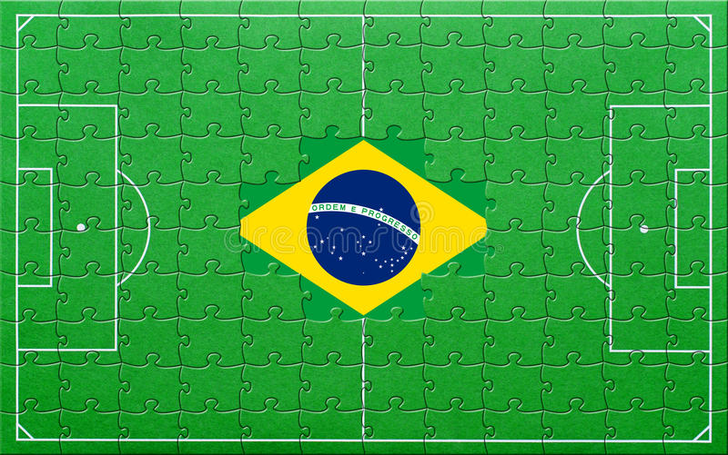 Brazil Flag On Soccer Pitch Royalty Free Stock Images