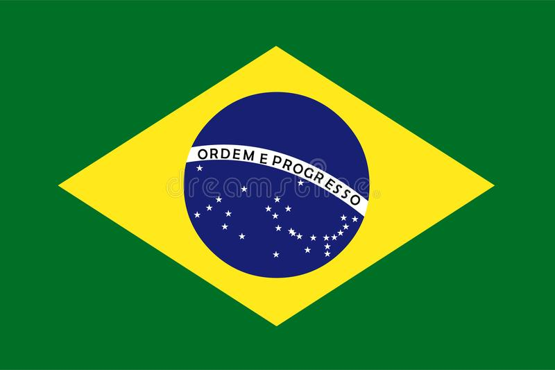 Brazil flag vector. Illustration of Brazil flag. Background royalty free illustration