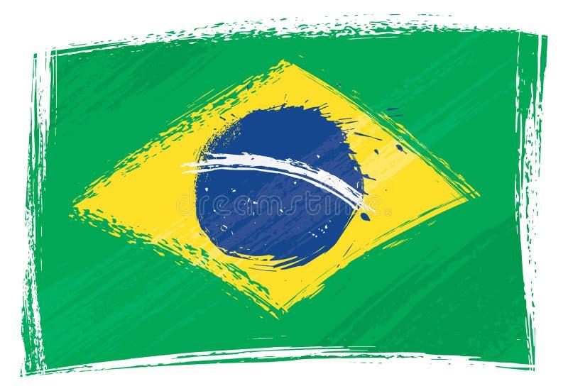 brazil flaggagrunge royaltyfri illustrationer