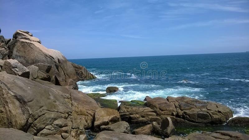 Brazil - Guaruj�- The Rock stock photography
