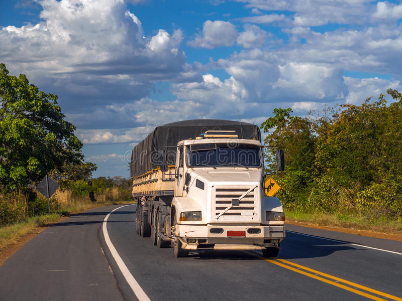 Brazil Highway. Truck on the road arid region in northeastern Brazil - access to beaches in the State of Ceara stock images