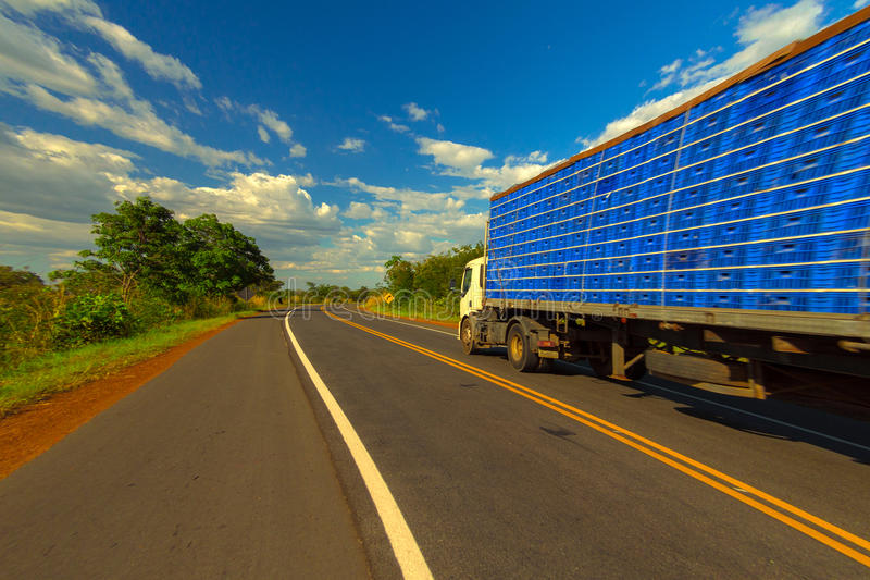 Brazil Highway. Truck on the road arid region in northeastern Brazil - access to beaches in the State of Ceara royalty free stock photography