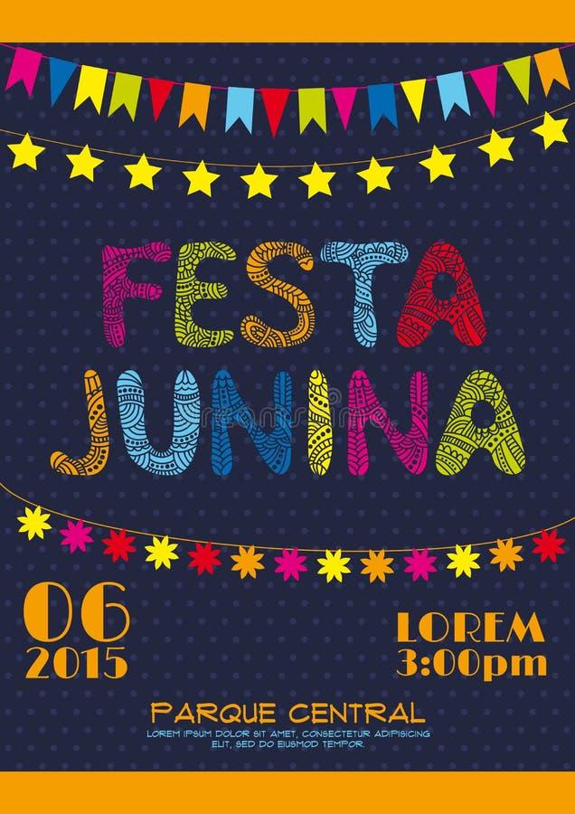 Brazil june party invitation poster vector illustration