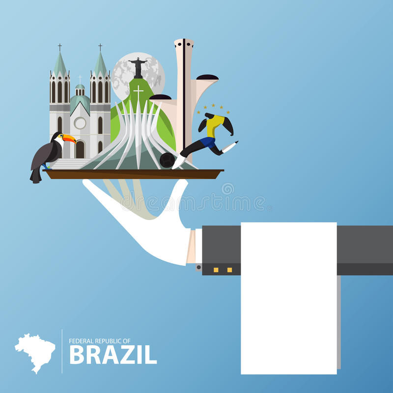 Brazil Landmark icon in flat design. Travel and journey Infographic. Vector stock illustration