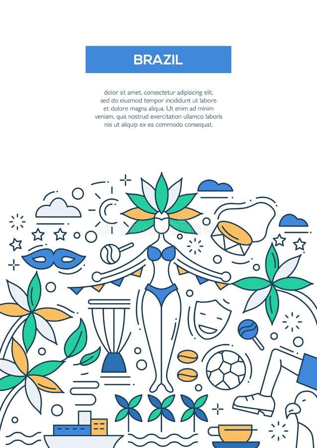 brazil- line design brochure poster template a4 stock vector, Presentation templates