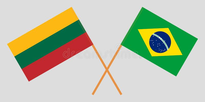 Brazil and Lithuania. The Brazilian and Lithuanian flags. Official colors. Correct proportion. Vector stock illustration