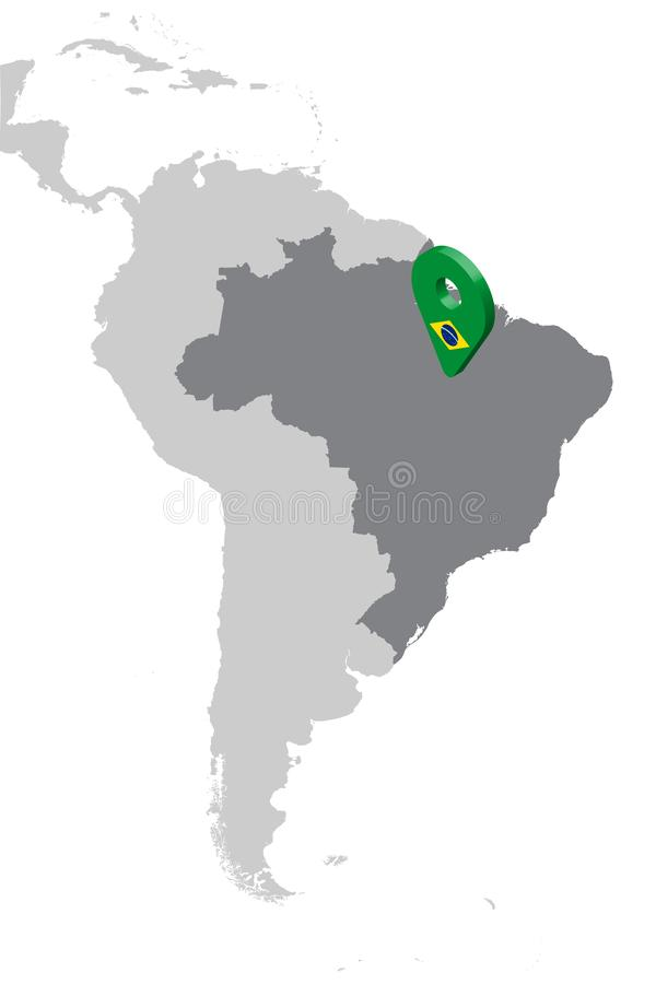 Brazil Location Map on map South America. 3d Brazil flag map marker location pin. High quality map of Brazil. stock illustration