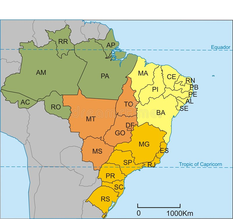 Brazil map royalty free illustration