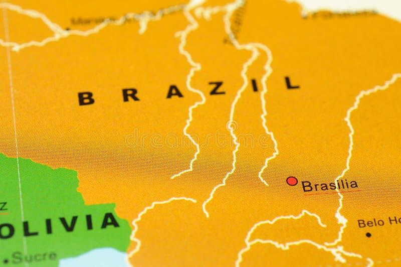 Brazil on map. Close up of Brasilia, Brazil on map royalty free stock photos